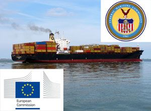 image: Europe US container line box carrier freight antitrust cartel shipping P3 Maersk MSC CMA CGM Asia