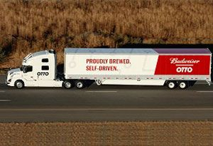 image: US self driving beer autonomous freight Uber Otto Anheuser-Busch cargo truck