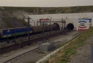 image: UK France intermodal freight road haulage multimodal logistics Channel tunnel Eurotunnel Europorte Russell supply chain solutions