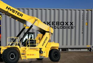 image: Germany Netherlands France Switzerland Hyster fork lift truck materials handling CakeBoxx shipping container
