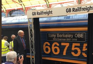 image: Southampton Lord Tony Berkeley rail freight group RFG boss longer trains Class 66 locomotive transport
