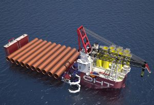 image: Norway heavy lift vessel semi-submersible offshore wind energy decommissioning installation Ulstein Alfa Liebherr