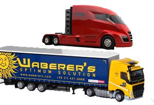 image: Hungary US Europe Waberer�s all electric driverless truck road freight haulage Tesla