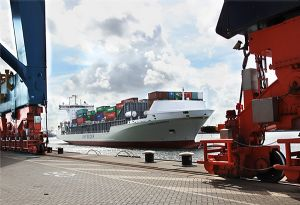 image: Dubai Denmark container feeder line shipping port logistics DP World Unifeeder global supply chain