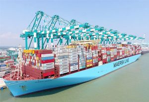 image: Denmark Maersk container boxes TEU most ever carried record Triple E