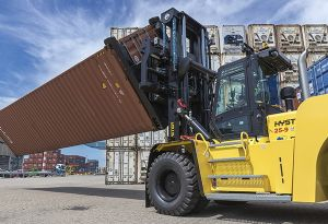 image: CakeBoxx Hyster fork lift truck container rotator logistics Ceva