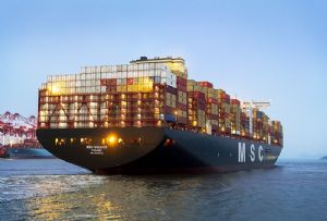 image: Europe China MSC G�ls�n reefer logistics shipping slow steaming transportation Algeciras box vessel container ship TEU
