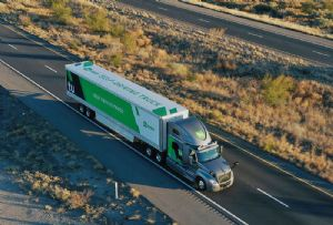 image: US Autonomous Self Driving Tractor Trailers UPS freight forwarding self driving parcel logistics