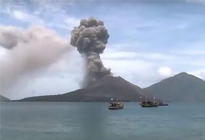 image: Indonesia Krakatoa mount Anak Krakatau volcano 1883 port airport Palu shipping