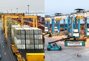 image: Liebherr container cranes Konecranes port terminal Cast Racine Montreal Gateway Terminal Abu Dhabi