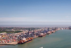 image: UK Port of Felixstowe Problems MSC Maersk CSCL empty containers delays road haulage rates freight forwarders