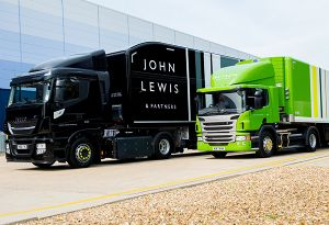 image: John Lewis retail trucks road haulage biomethane fuelled fleet commercial vehicles lorries Waitrose diesel