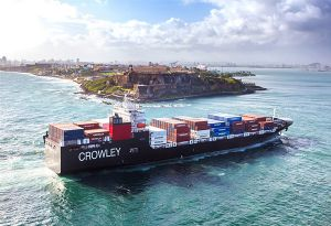 image: US RoRo LoLo container ship Crowley Puerto Rico freight vessel LNG supply chain