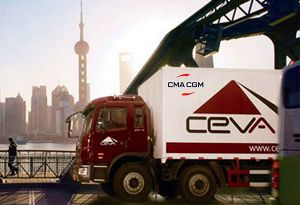 image: France Switzerland Denmark DSV CMA CGM Ceva Logistics global container shipping line
