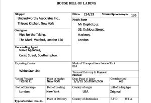 image: House Bills of Lading shippers Bs/L original switch consignee freight forwarders agents cargo fraud