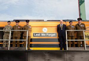 image: Freightliner G&W Pentalver Lest We Forget British Legion rail workers Great War Armistice Day