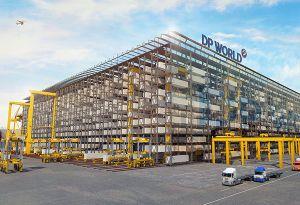 image: Dubai DP World Jebel Ali container stacking box cargo SMS AMOVA