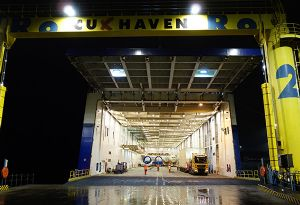 image: Cuxhaven Germany Cuxport Rhenus logistics LD Seaplane heavy lift multimodal freight forwarding project