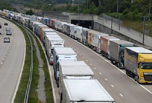 image: UK France Armageddon road haulage freight container feeder services cargo Calais Eurotunnel ferry RoRo