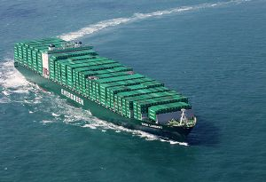 image: Taiwan Colombia Chile Evergreen Line shipping container ship Sulphur cap