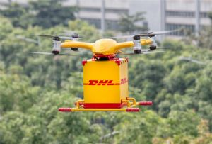 image: China DHL drone delivery express services logistics smart solution last mile EHang autonomous