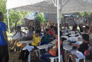image: Philippines sailors society freight logistics TK Foundation Typhoon Haiyan (Yolanda) school Lipayran island kids
