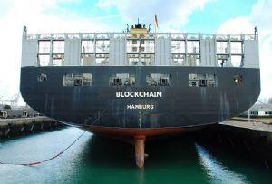 image: France Maersk MSC CMA CGM blockchain Traxens shipping container freight TradeLens platform digitisation