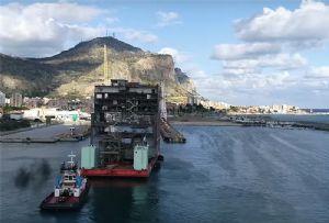 image: Barcelona Palermo Grimaldi ship vessel ferry RoRo freight scrubber lithium emission particulates trucks