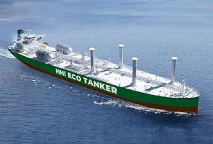 image: Hyundai Heavy Industries Lloyds Register VLCC crude carrier tanker eco design rotor sail Flettner