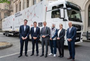 image: Germany Semi-Autonomous HGV Truck Platooning Trial freight logistics road haulage MAN DB Schenker HGV