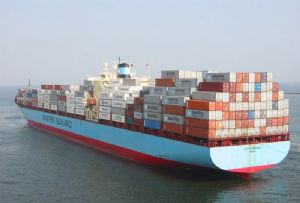 image: Maersk Denmark container shipping freight carbon emission reductions biofuel trial