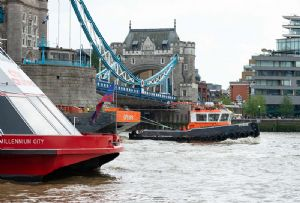 image: UK London International shipping week River Thames emissions PLA commercial vessels