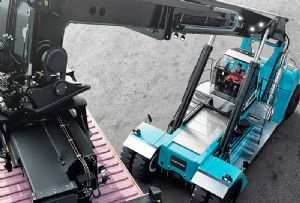 image: UK Finnish lift trucks container handling bulk freight Konecranes Impact handling materials