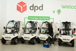 image: UK Westminster DPD parcel logistics Dropless water free cleaning vehicles electric bikes