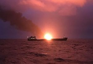 image: Russia Crimea Canada Bahamas fire at sea LPG gas tanker container ship blaze Hapag Lloyd