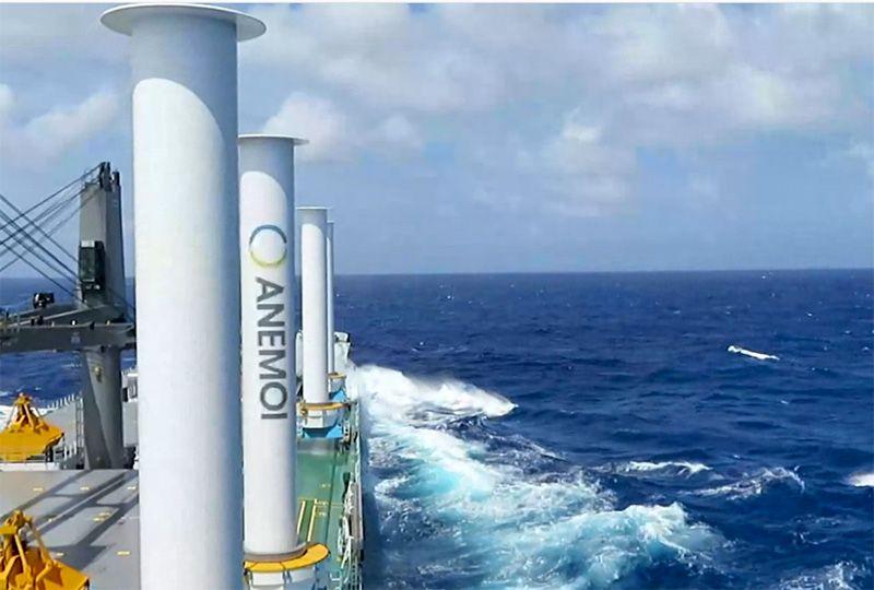 image: UK, Finland, Anton Flettner, rotor, sails, wind, power, propulsion, Stena, Maersk, Shell, K Line, Hyundai, W�rtsil�, Anemoi Marine Technologies,