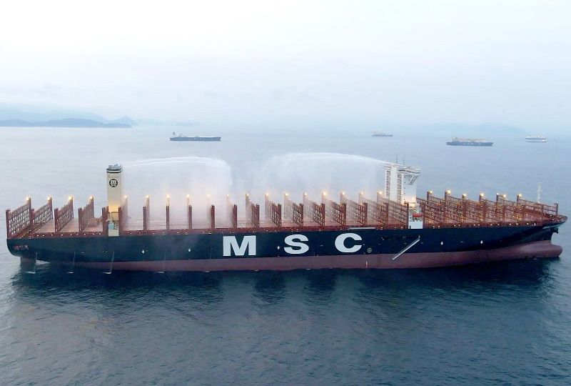 image: MSC Gulsun class DNV GL container ships firefighting TEU notation to mitigate fire risk blaze on board
