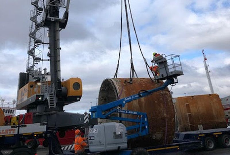 image: UK Germany Fracht Mary boring machine Project Freight Forwarding consignment shipment tonne