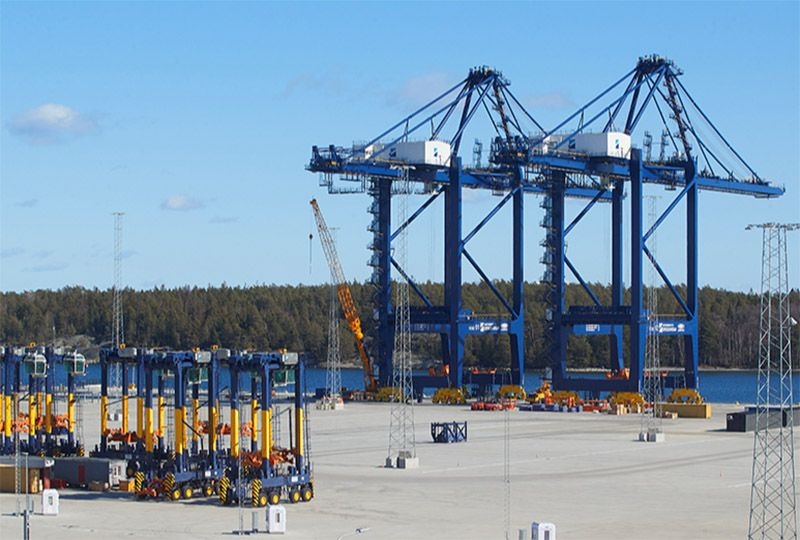 image: Sweden post panama cranes Baltic China ZPMC Stockholm Norvik Port container box vessels